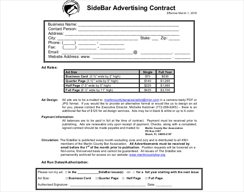 side bar advertising contract1