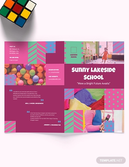 simple preschool bi fold brochure template