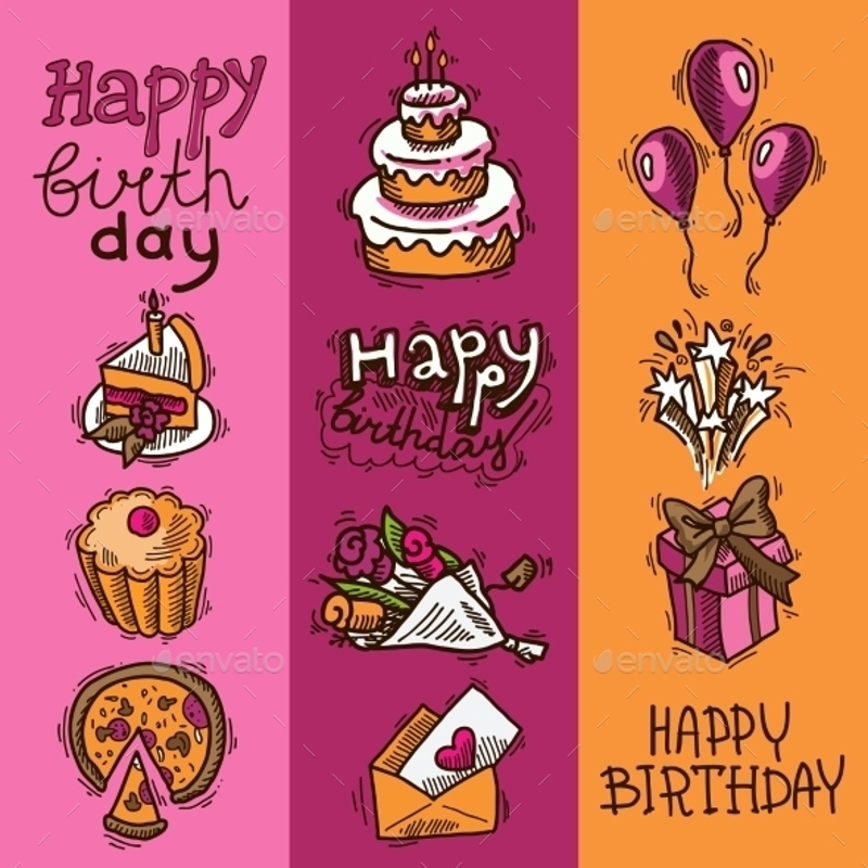 sketch birthday banners