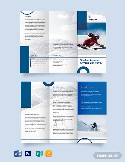 ski resort tri fold brochure template