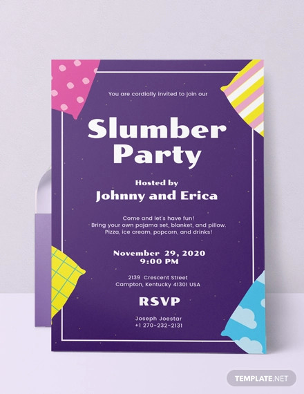 slumber party invitation template1