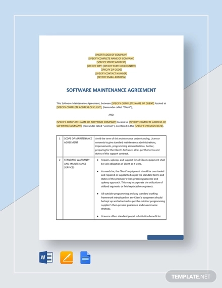 software maintenance agreement
