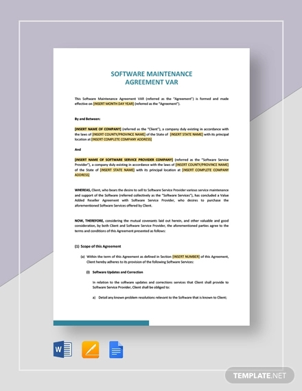 software maintenance agreement var 1