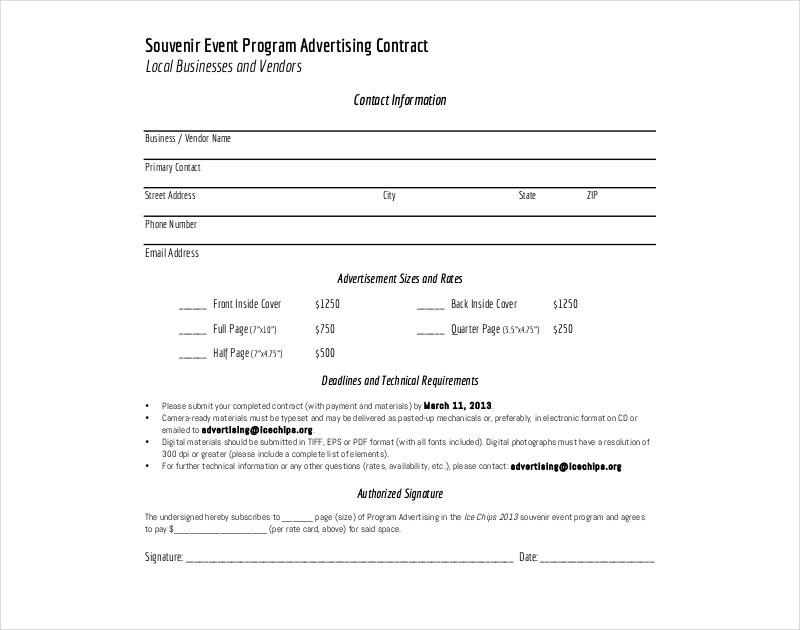 souvenir event program advertising contract