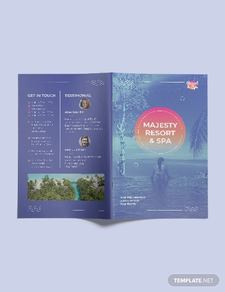 spa resort bi fold brochure template