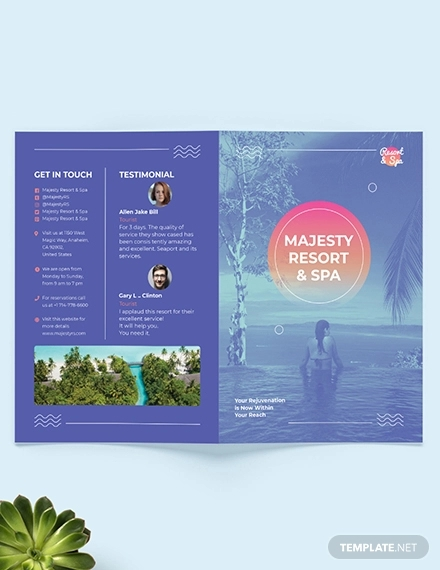 spa resort bi fold brochure