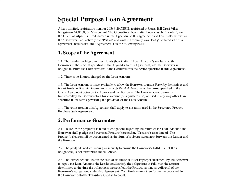 14 Loan Agreement Examples Samples In Pdf