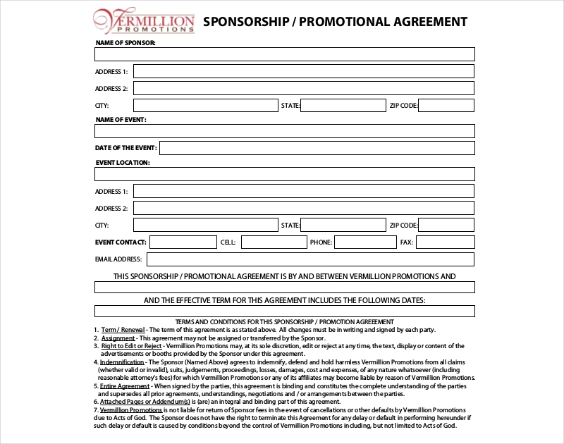 sponsership promotional agreement