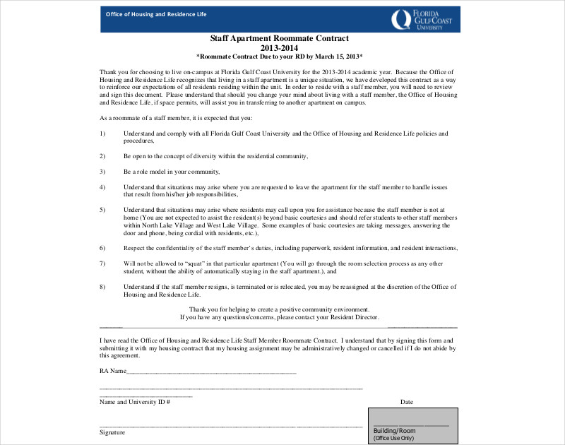 staff apartment roommate contract