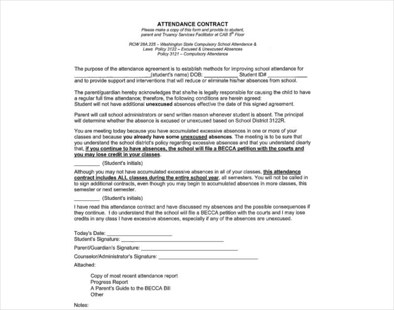 standard attendance contract