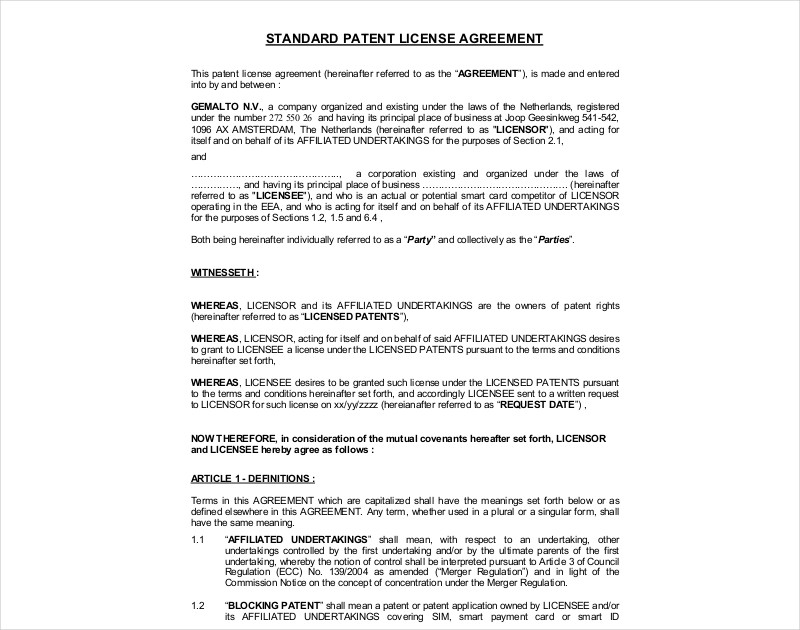 standard patent license agreement