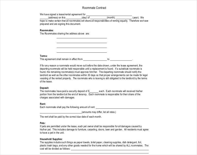 10 Roommate Contract Examples Pdf Doc