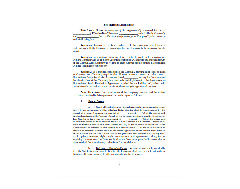 14 Stock Agreement Examples Pdf Doc