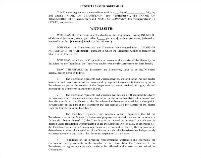 14 Stock Agreement Examples Pdf Doc