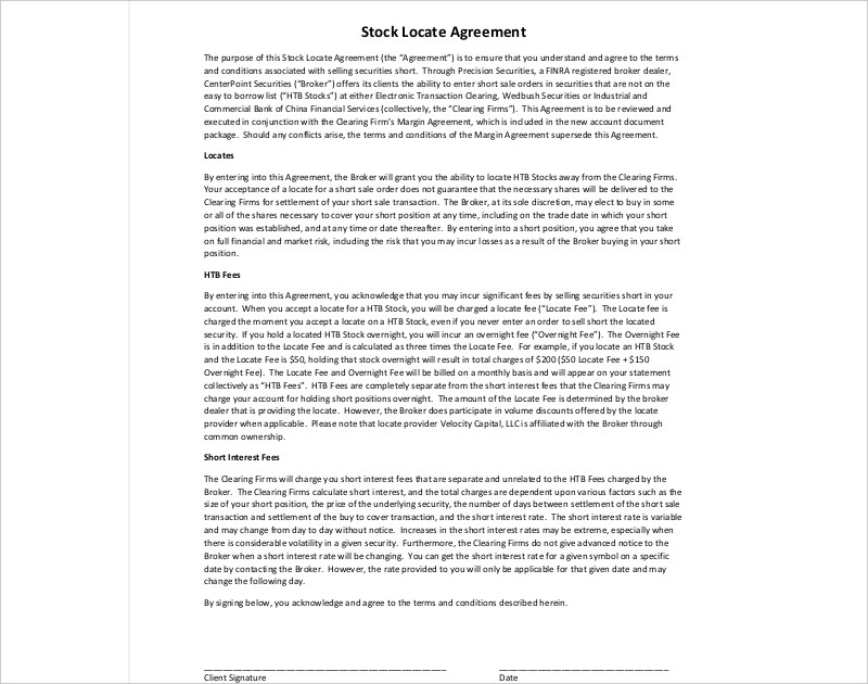 stock locate agreement
