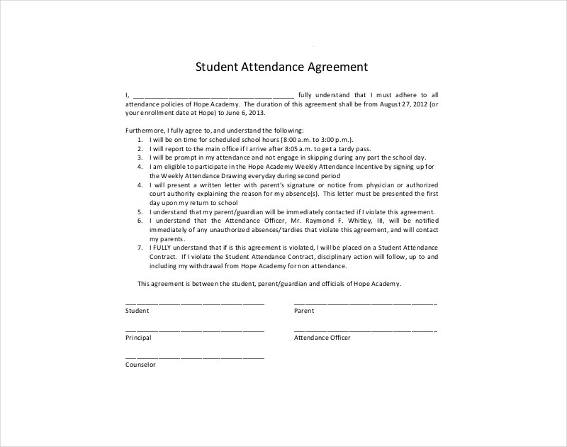 student attendance contract