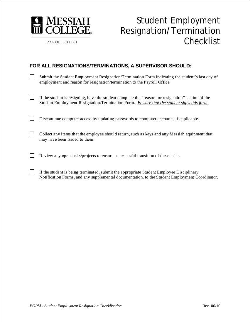 9 resignation checklist examples templates pdf student employment resignation checklist example spiritdancerdesigns Image collections