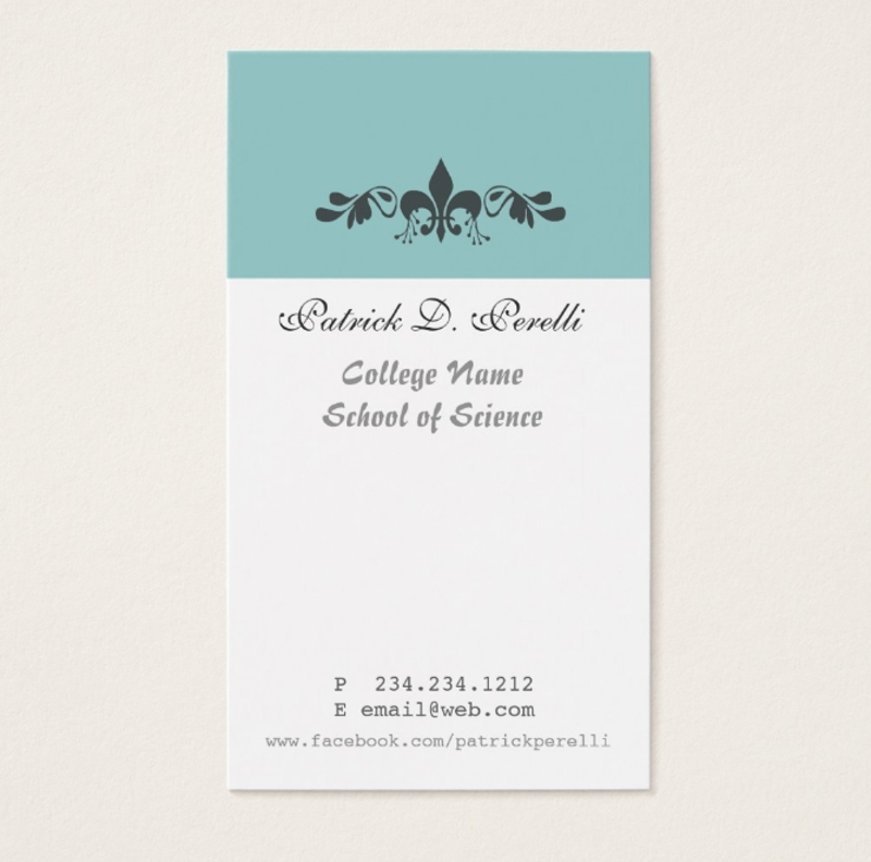 student minimal business card