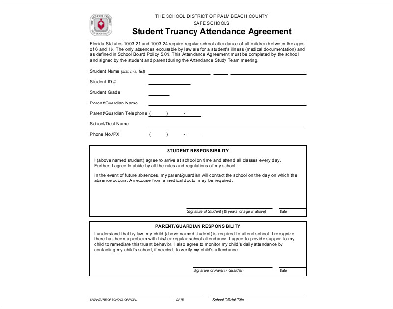 student truancy attendance agreement