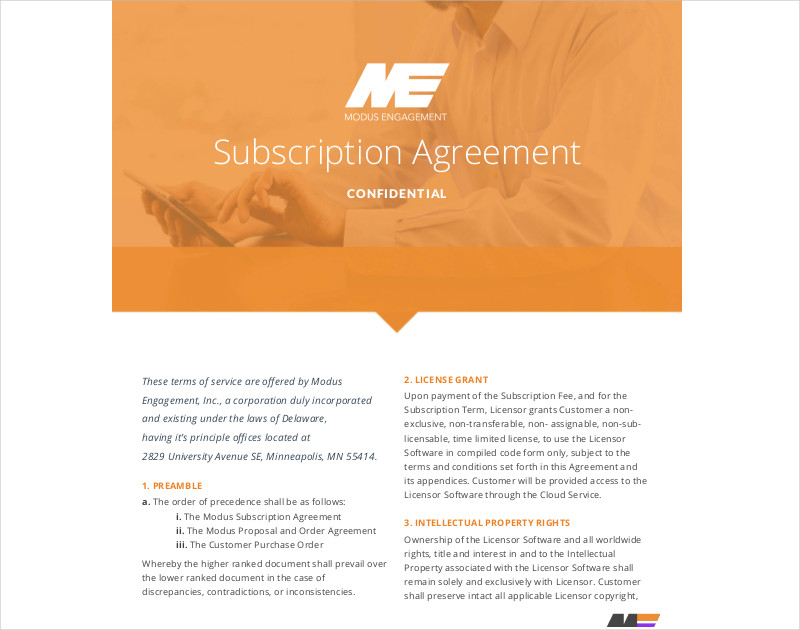 subscription agreement printable