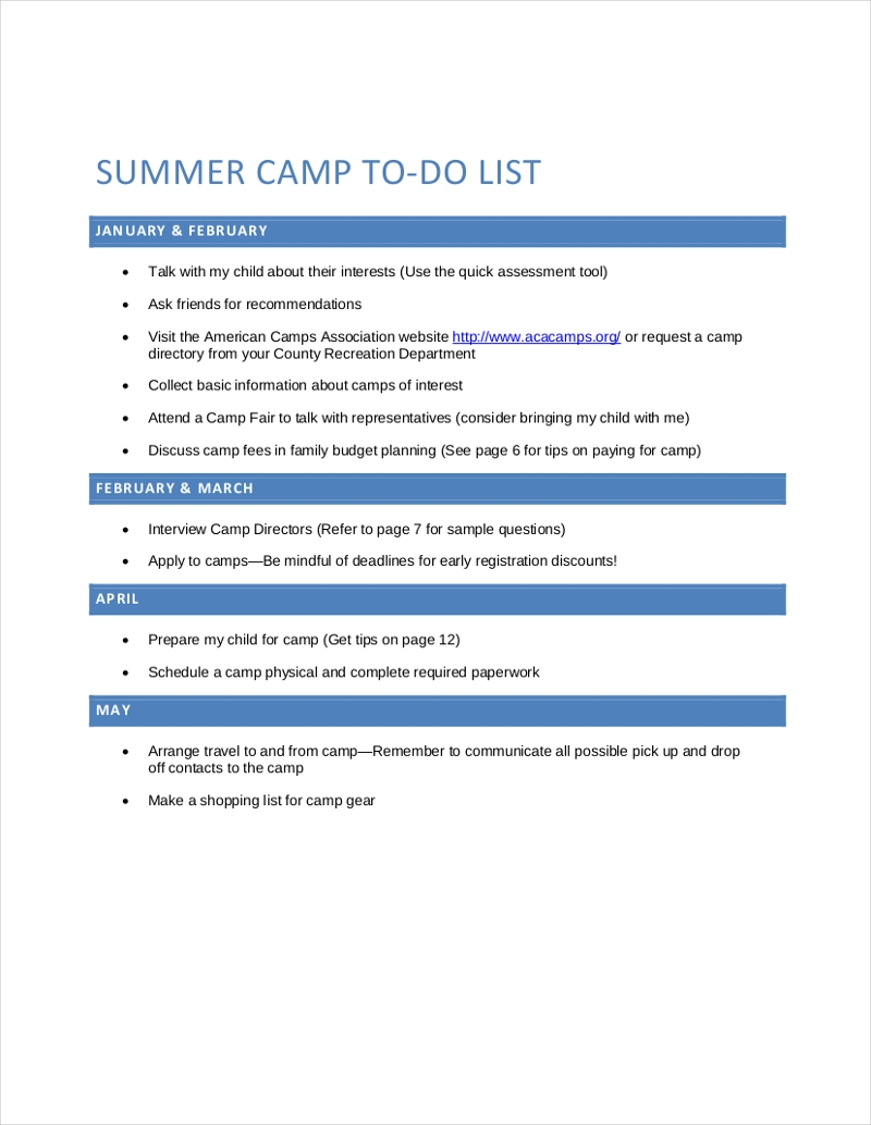 summer camp to do checklist1