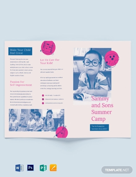 summer school bi fold brochure template