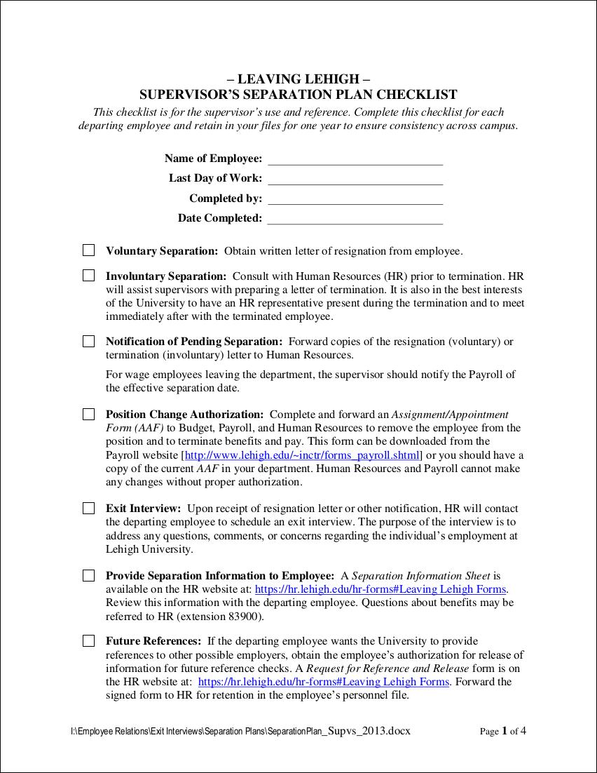 supervisor resignationseparation plan checklist