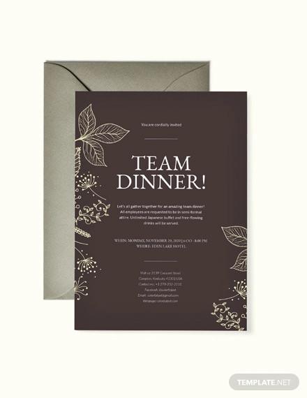 team dinner invitation template