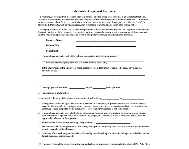 teleworker assignment agreement