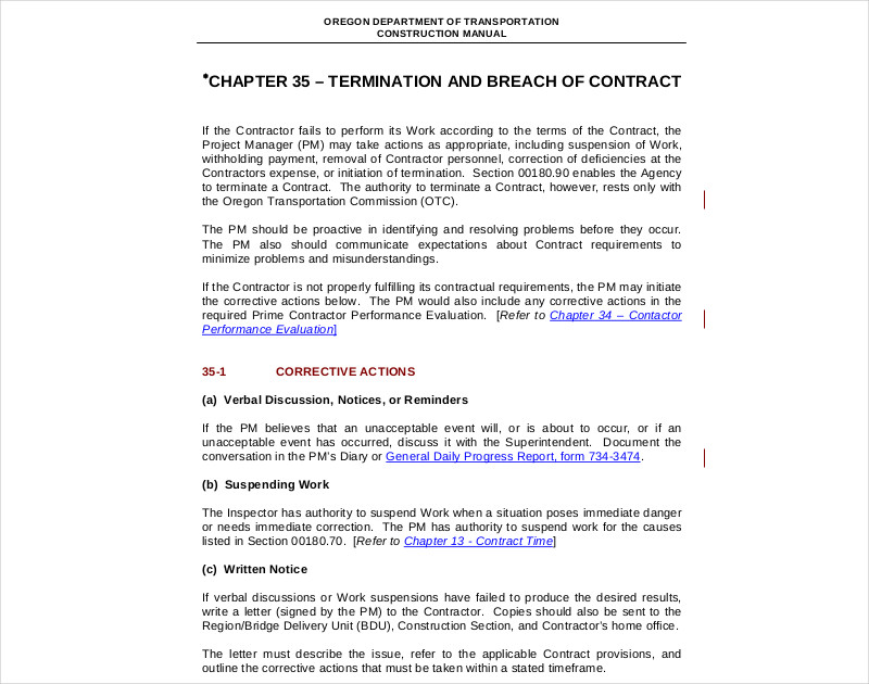 termination and breach of contract