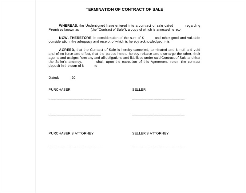termination of contract sale
