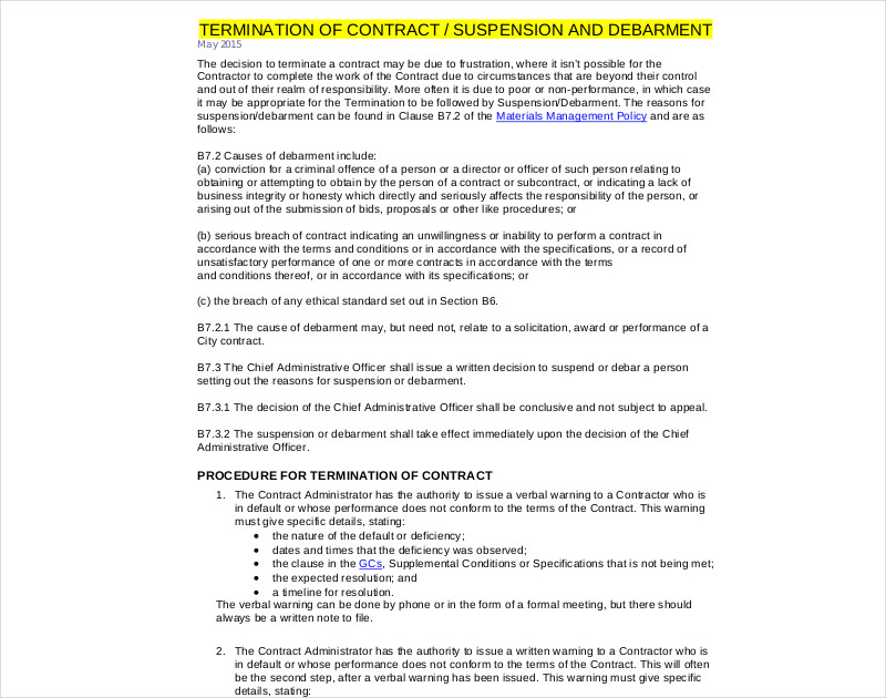 termination of contract sample