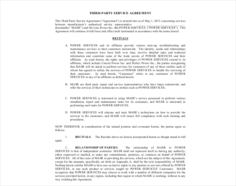 third party service agreement