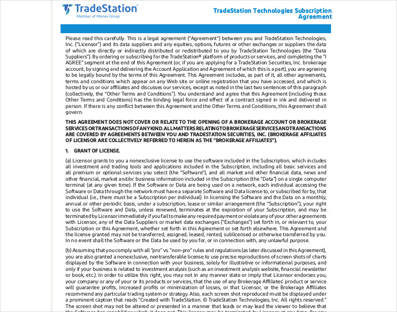 tradestation technologies subscription agreement