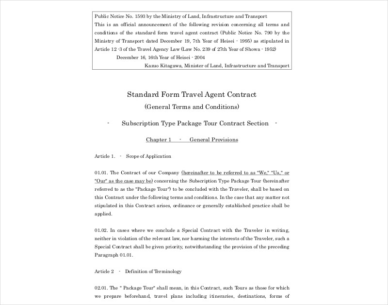 travel agent contract