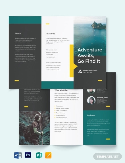 travel tour tri fold brochure template