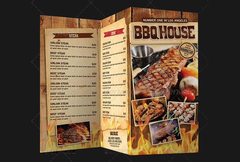 trifold bbq steak menu