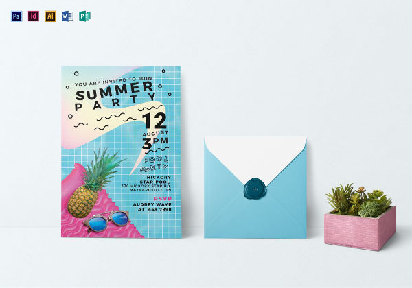 tropical summer party invitation