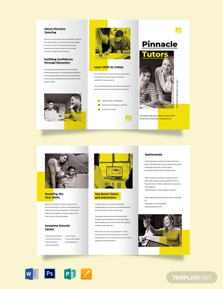 tutoring school tri fold brochure template