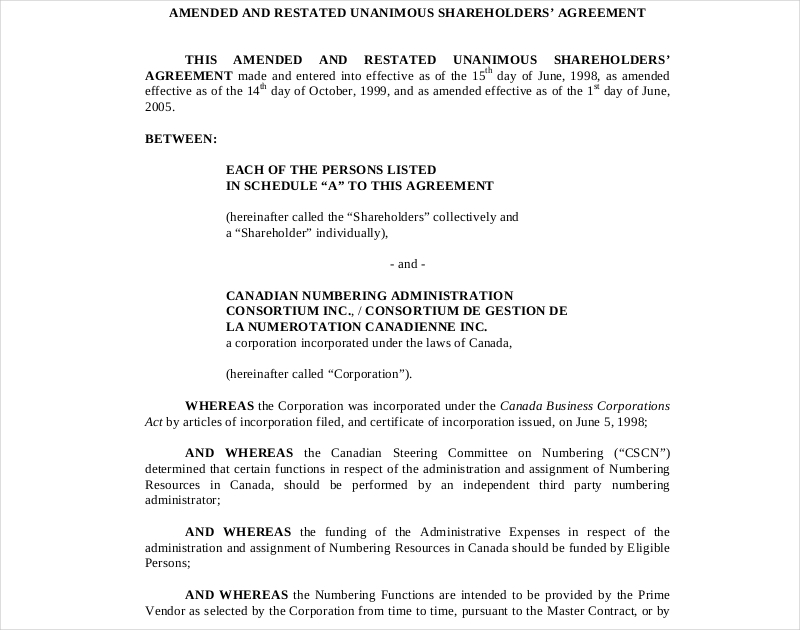 unanimous shareholders agreement