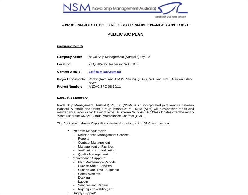 unit group maintenance contract