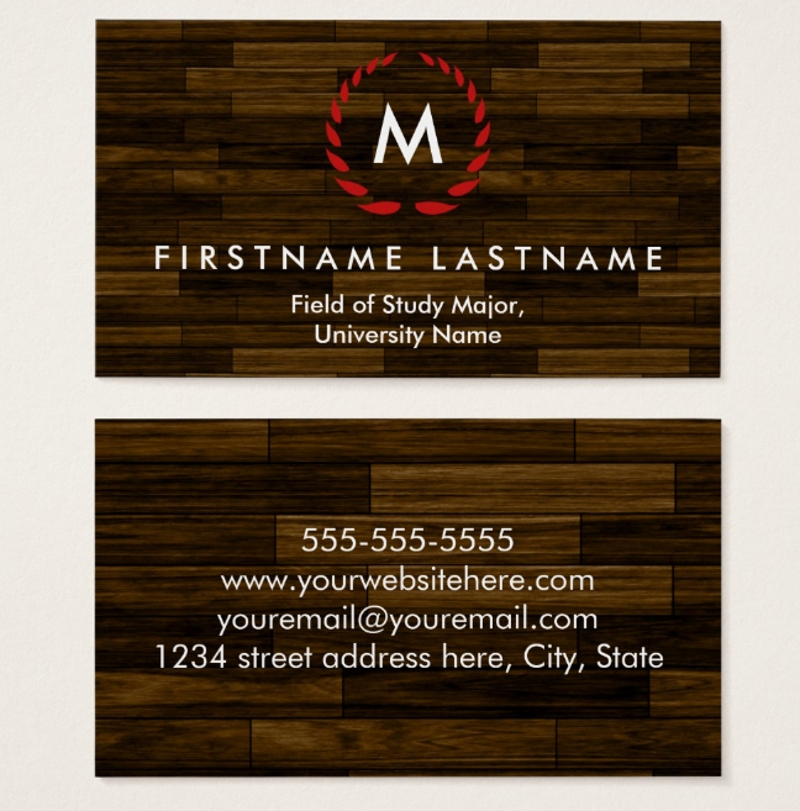 university student business card