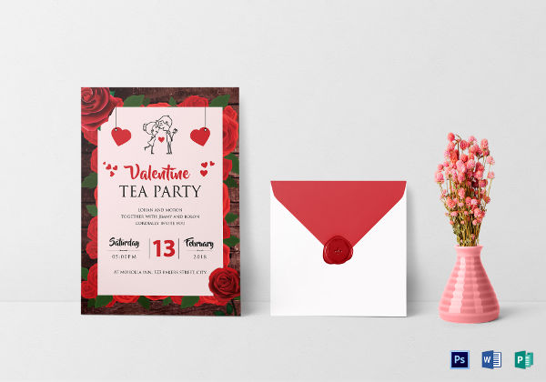 valentine tea party invitation
