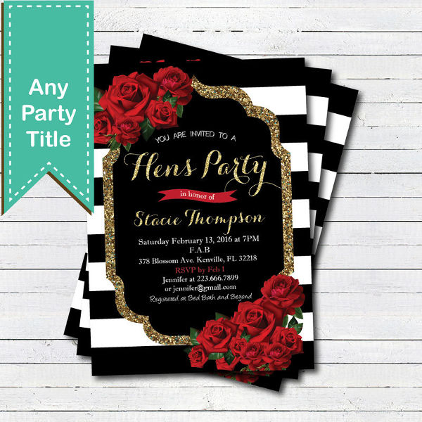 valentine theme hens party invitation