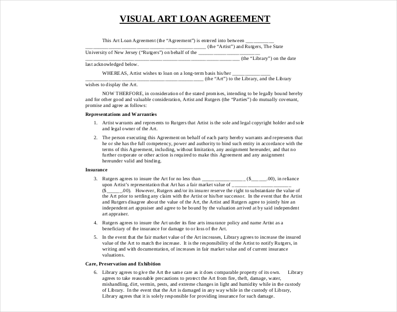 visual art loan agreement