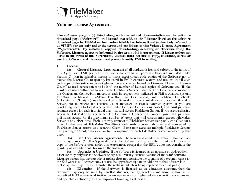 volume license agreement