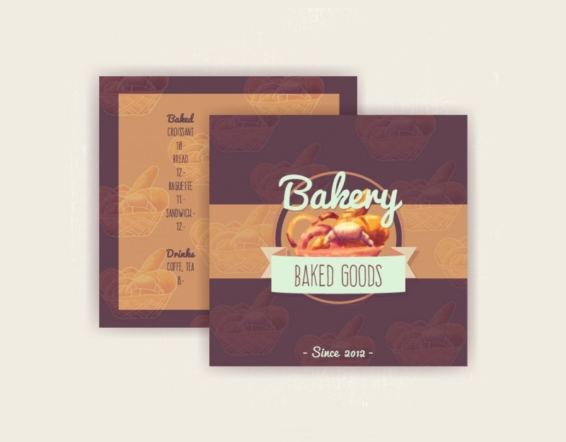 watercolor bakery menu