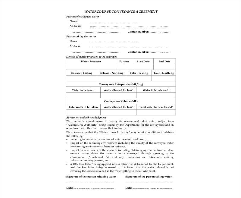 watercourse conveyance agreement
