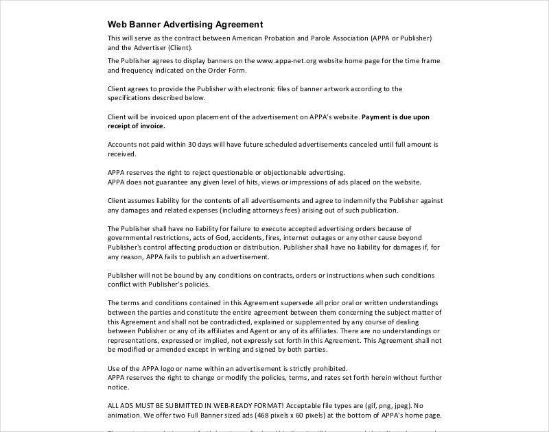 web banner advertising agreement