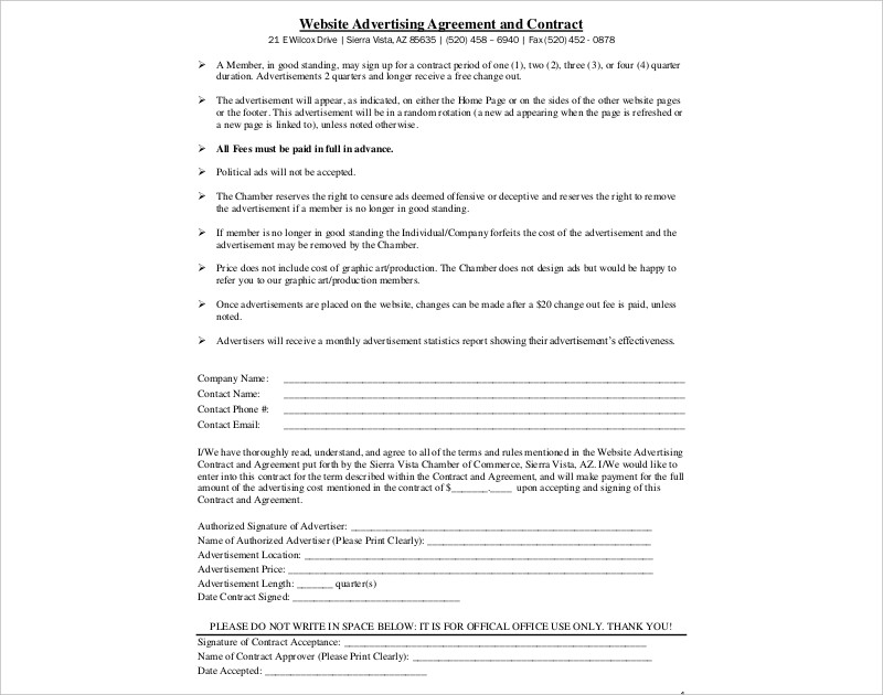 website advertising agreement and contract
